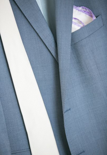 Grey-blue silk suit jacket and white tie- Mitheo Events   Concept Events Styling