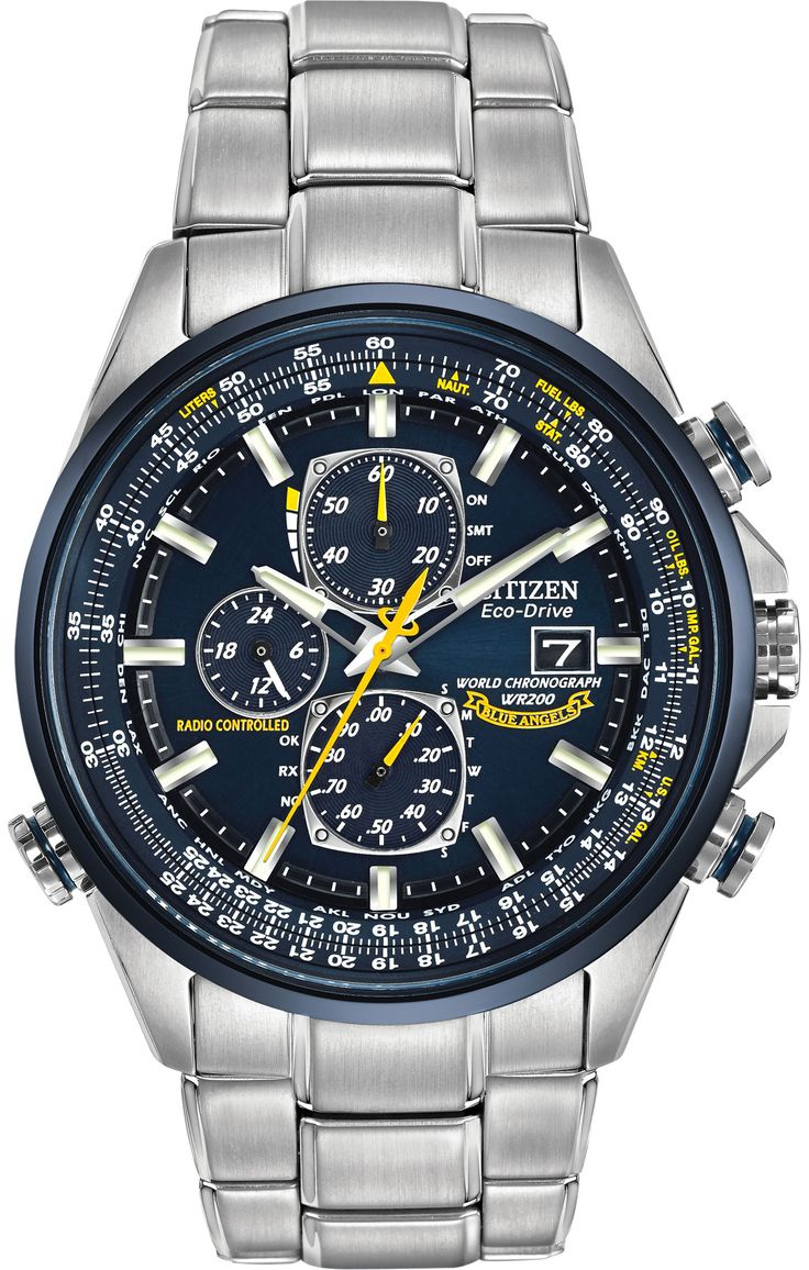 Citizen Eco-Drive Men's Blue Angel World Chronograph A-T Watch