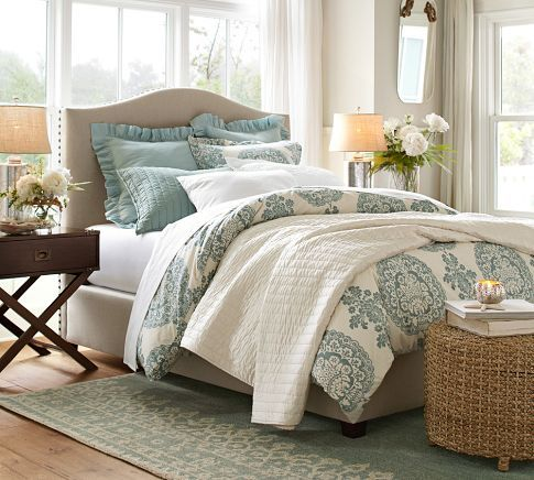 Pottery Barn | Lucianna Medallion Duvet Cover & Sham in blue, headboard, and rug