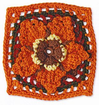 Granny-square-acorn-pattern-crochet-1 by Margaret Hubert from the book Granny Square Flowers