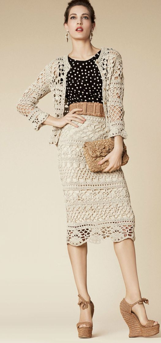Dolce 2013, Here you will find reconstruction of crochet pattern for skirt and jacket.These things crocheted by very thick yarn and with crochet hook 3 – 4 mm