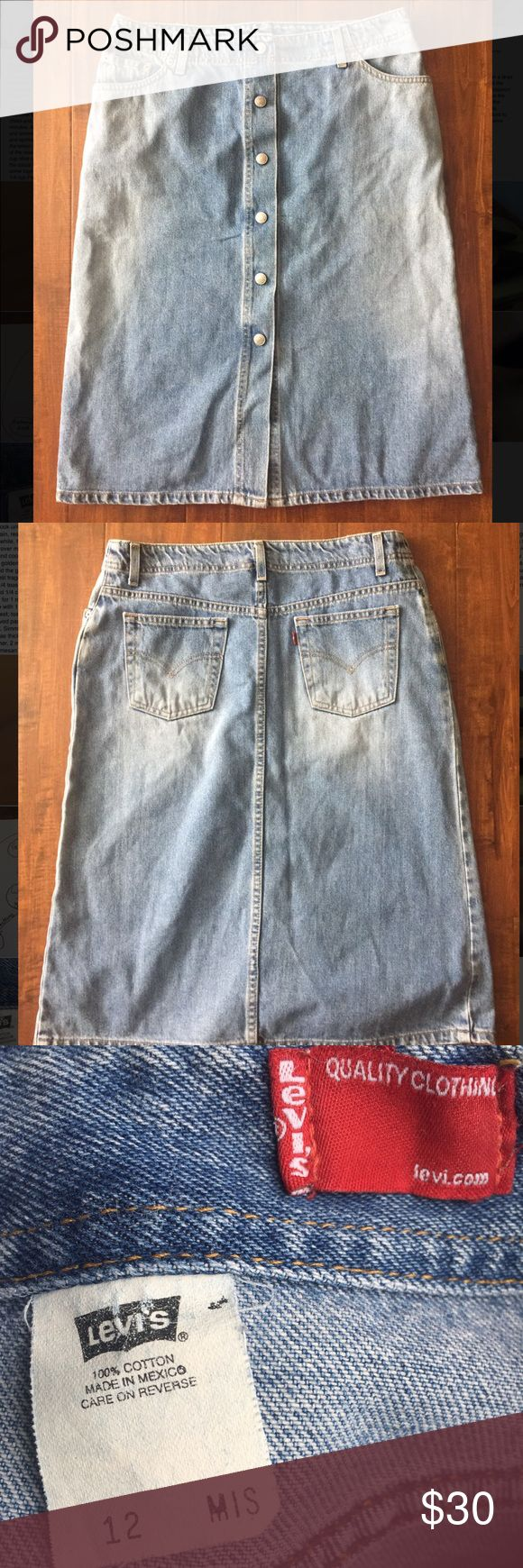 LEVI's jean skirt LEVI's brand button up jean skirt in NWT condition. Blank canvas for ripping/cutting up, take in to be a pencil skirt, taking out the bottom seam, or leaving it alone for the classic look. Levi's Skirts Midi