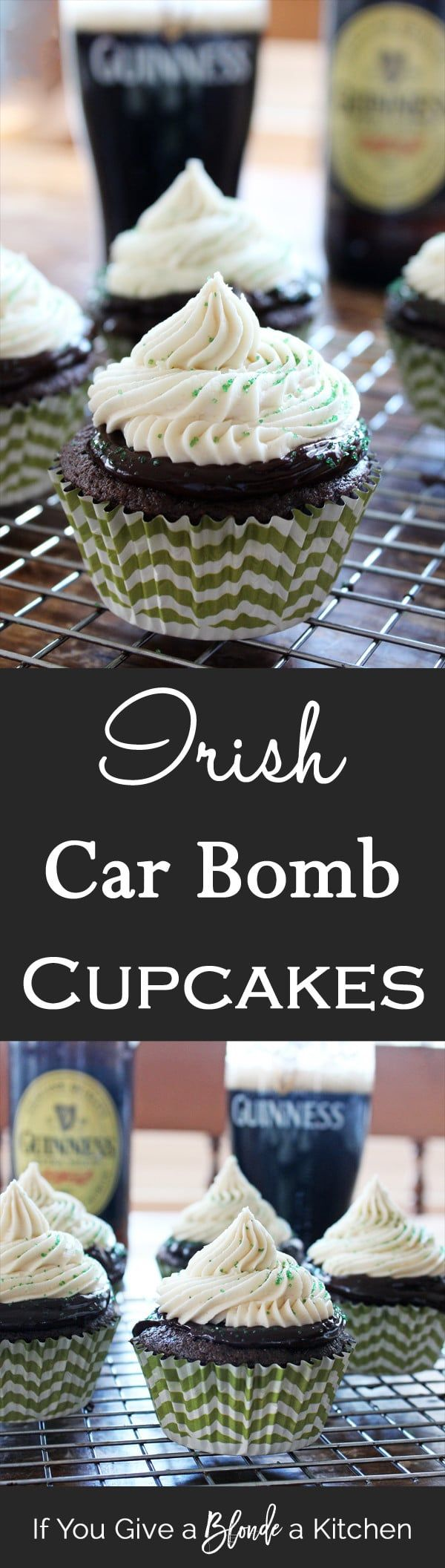 Irish Car Bomb Cupcakes are made of Guinness cake, Jameson Whiskey chocolate ganache and Bailey's buttercream frosting—the perfect St. Patrick's Day treat!
