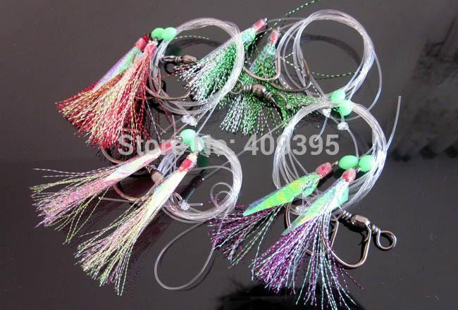 3 Pack Sabiki 5 Shrimp Rigs Glow in the dark Baits Fishing Lures Catch Sz20 Hook