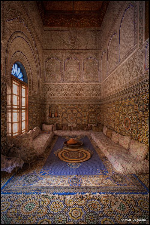 Furniture almost unnecessary. So gorgeous!  Moroccan livingroom.