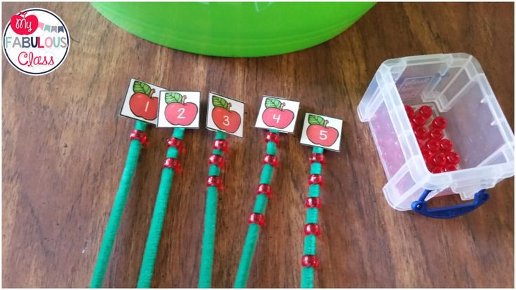 FREE Apple number cards. Counting beads are great fine motor for back to school.