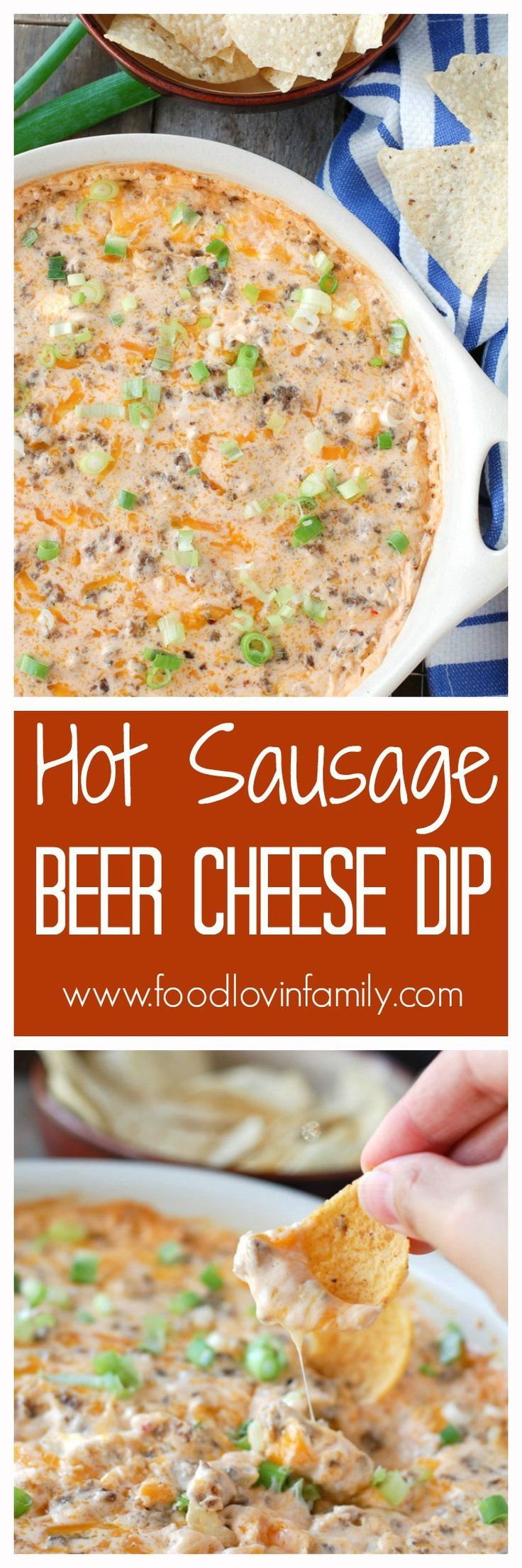 Hot Sausage Beer Cheese Dip makes a great appetizer! The perfect dip for race day or any party. (Cheese Appetizers Dip)