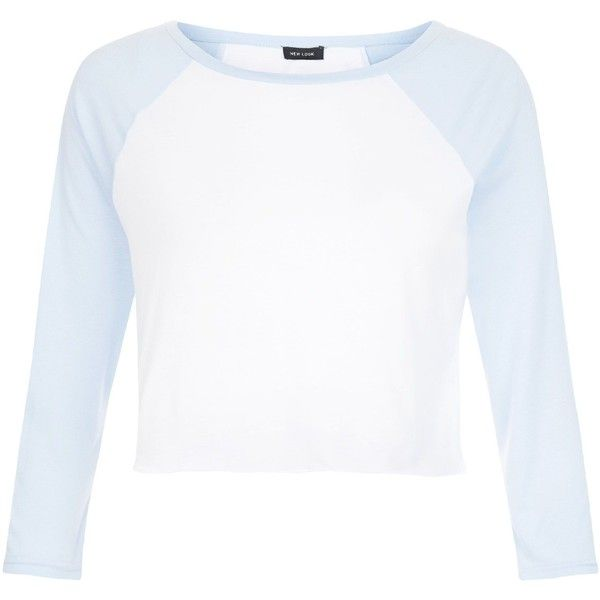 New Look Pale Blue Colour Block Raglan Crop Top ($4.92) ❤ liked on Polyvore featuring tops, pale blue, block top, white crop top, cut-out crop tops, crop top and raglan top