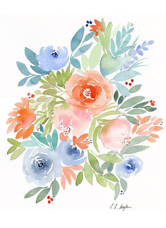 Aquarelle Originale De Fleurs En Peinture Cette Aquarelle