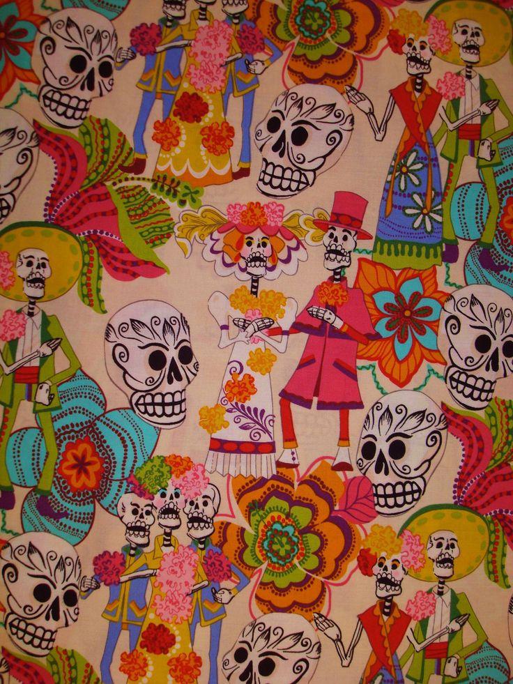 Los Novios from Alexander Henry day of the dead fabric Dia de Los Muertos fabric. $9.50, via Etsy.
