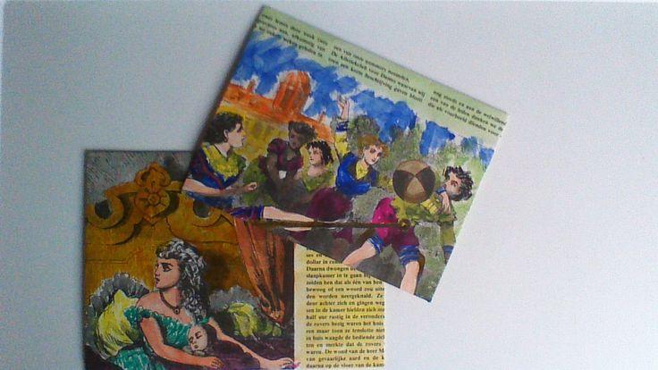 Handgemaakte enveloppen. Pagina's uit oud boek en waterverf.