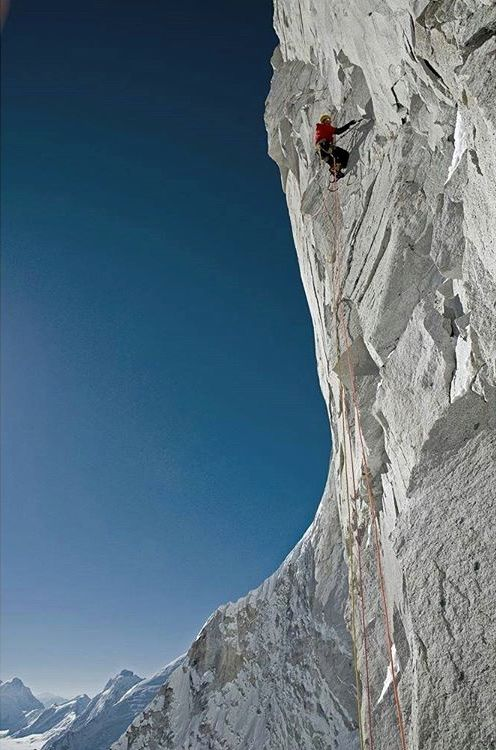 Jimmy Chin climbing the Shark's Fin route on Mount Meru in the Himalayas