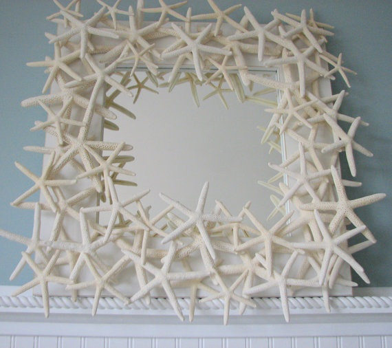 Starfish Mirror   Beach Decor Shell Mirror  by beachgrasscottage