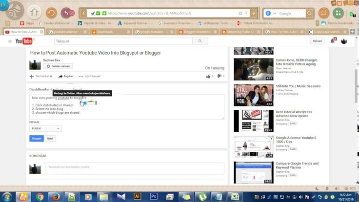 How to Share a Post Youtube Adsense Into Twitter