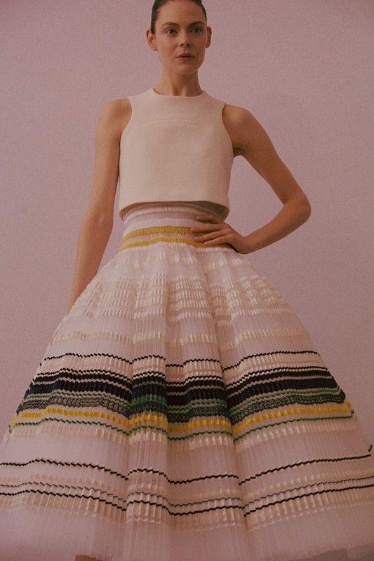 Christian Dior Haute Couture SS15 Pleat Full Skirt Stripe