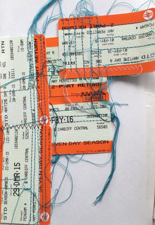A once treasured item that had the value of money is forever discarded once used. Here are some of my train tickets that I have been collecting for a while now and I have began to experiment if a sewing machine would actually stitch through the card. Knowing this worked I have taken the idea of Sashiko and used a sewing machine to create the line within the tickets.