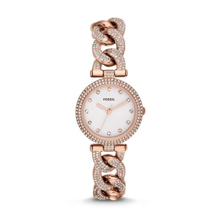 rose gold with crystals fossil olive three hand stainless steel watch rose es3394 fossil. Black Bedroom Furniture Sets. Home Design Ideas