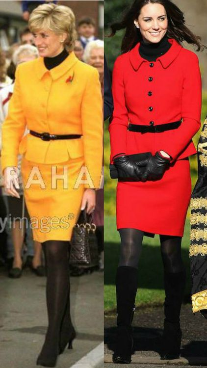 Catherine, Duchess Of Cambridge & her mother-in-law, Princess of Wales, both in peplum suits.: