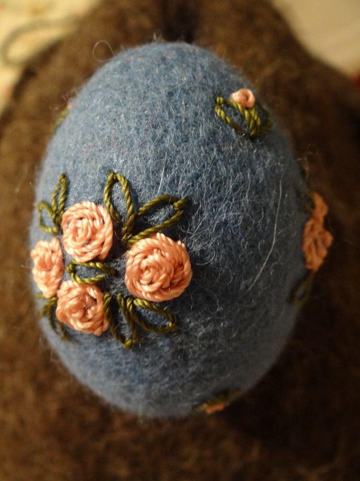 Felted, embroidered Easter egg