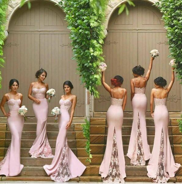 Vintage Blush Lace Stain Spaghetti Mermaid Long Beach Bridesmaid Dresses 2016 New Trend Backless Maid Of Honor Wedding Guest Dress