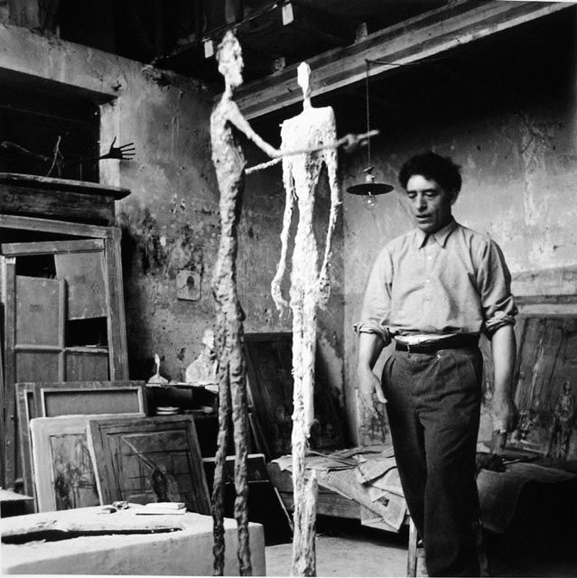 Alberto Giacometti in his Paris studio, 1954. Photo by Ernst Scheidegger. Craig Krull Gallery.
