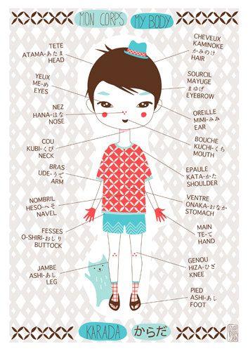 #Illustratie My body in japanese english and french | IzumiIdoiaZubia