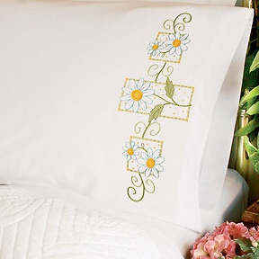 Dimensions Stamped #crossstitch  DAISIES ON GINGHAM #pillowcases #DIY #crafts