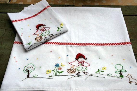Red Riding Hood baby linen sheet by babysdreamfairytales on Etsy
