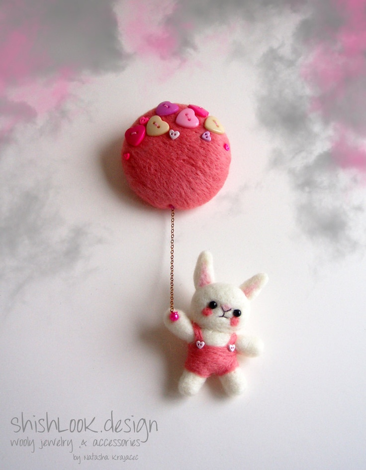 Flying Rabbit, Felted Animal Brooch, Wool Jewelry, Felted Bunny, Animal Jewelry. $31.00, via Etsy.