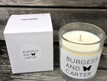 Beautiful 100% soy wax candle with a vanilla fragrance