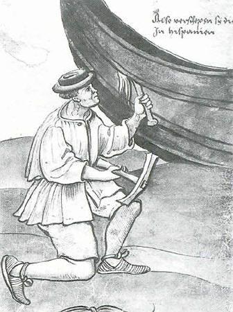 Calafateo de una embarcación (ilustración de Das Trachtenbusch, Weiditz, s. XVI)