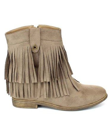 Another great find on #zulily! Taupe Akira Fringe Ankle Boot #zulilyfinds