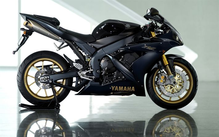 Download wallpapers Yamaha YZF-R1, 2018, dark blue sport motorcycle, sportbike, Yamaha