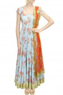 Blue floral print and peach pink embroidered anarkali set