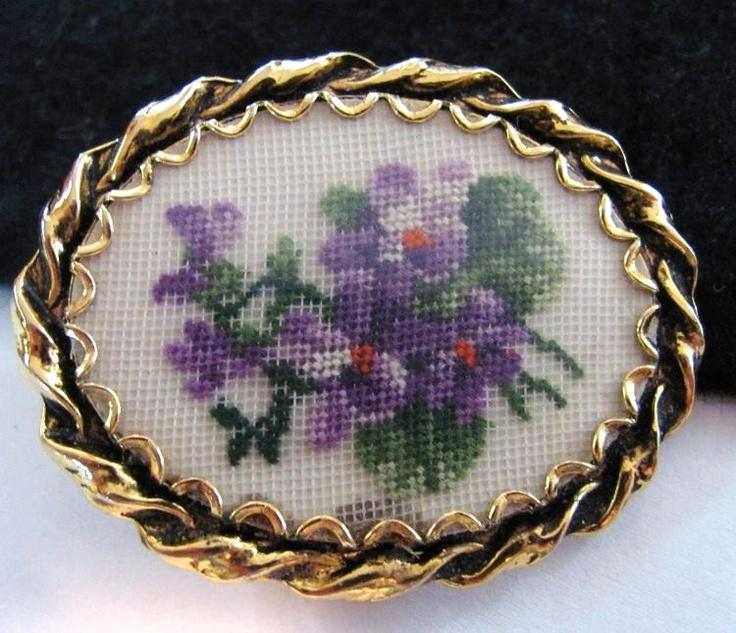 petit point violets brooch