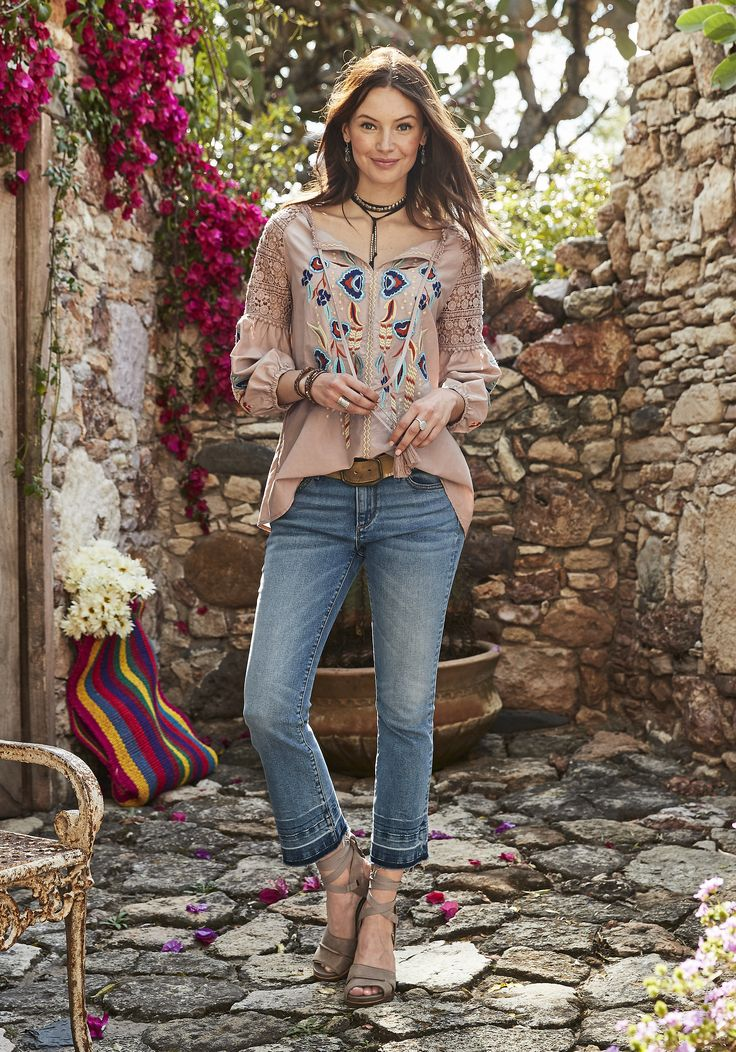Spirit Song Top - cotton/silk blouse with subtle beading and detailed embroidery.