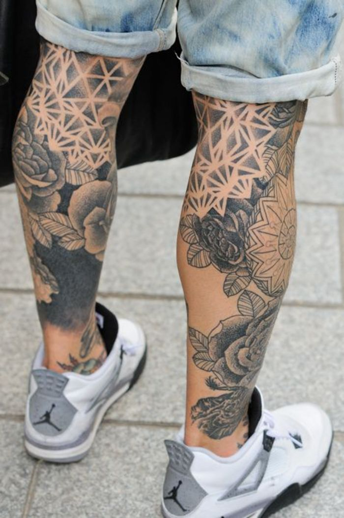 bein tattoos, tattoos an der wade, tattoo motive fuer maenner, tattoo ideen