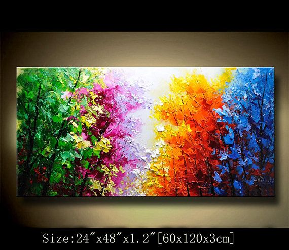 Contemporary Wall Art Palette Knife Painting Colorful Landscape Painting Wall Decor Home Decor Acrylic Textured Painting On Canvas Chen Dddp Abstract Wall Painting Texture Painting Tree Painting