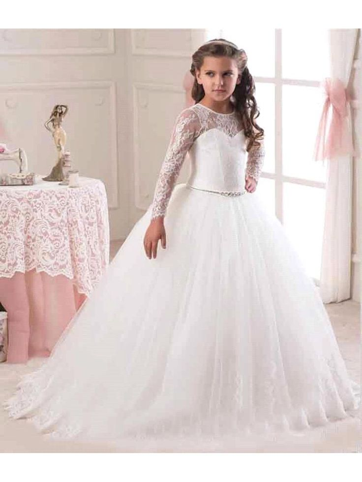 <b>Lace Tulle Long</b> Sleeves Princess Ball Gown Flower Girl Dresses ...