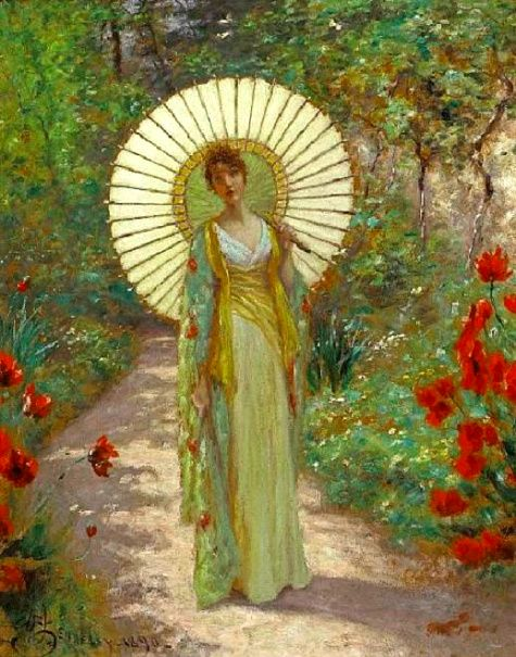 The Japanese Parasol~William John Hennessy, 1890.