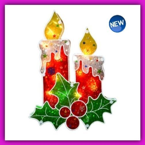 """Discount Christmas Decorations Clearance Whimsical Window Silhouette Candle 12"""" #Sienna"""