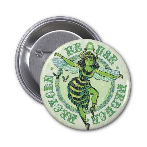 Enviro Green Bee Earth Day Gear Buttons