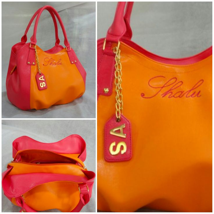 Our Medium Slouchy Shoulder Bag #customized in #Orange body, #Pink sides, #Gold #metalwork with Orange inside lining & a Hanging tag #monogram along with an external #embroidered monogram :)  See more at: http://www.toteteca.com #bag #colorful #funky