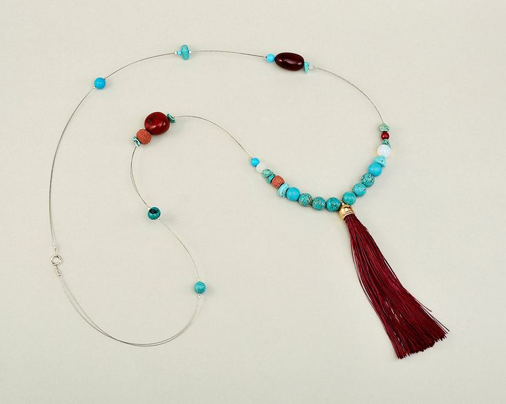 Tassel long necklace, turquoise necklace, garnet jade necklace, classy boho necklace, garnet tagua jewelry,bright necklace,bohemian necklace by ColorLatinoJewelry on Etsy
