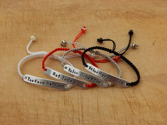 Valar Morghulis bracelet- Valar Dohaeris bracelet - Game ot Thrones Quote bracelet - One bracelet