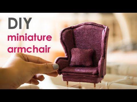 DIY Miniature Dollhouse No-Sew Armchair Tutorial - Alice in Wonderland Inspired - YouTube
