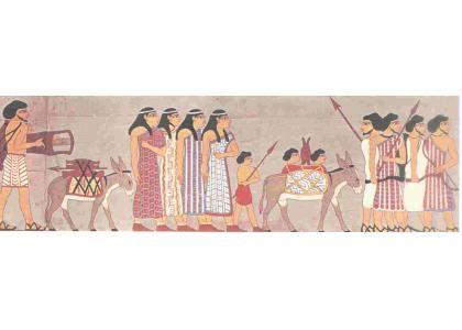 Groep Aziaten in Abrahams tijd 19e eeuw v.Chr. Deze schitterende tekening komt uit de graftombve van Farao Cnoemhotep in  Beni-Hassan. De jongen vervoert een blaasbalg op een ezel.