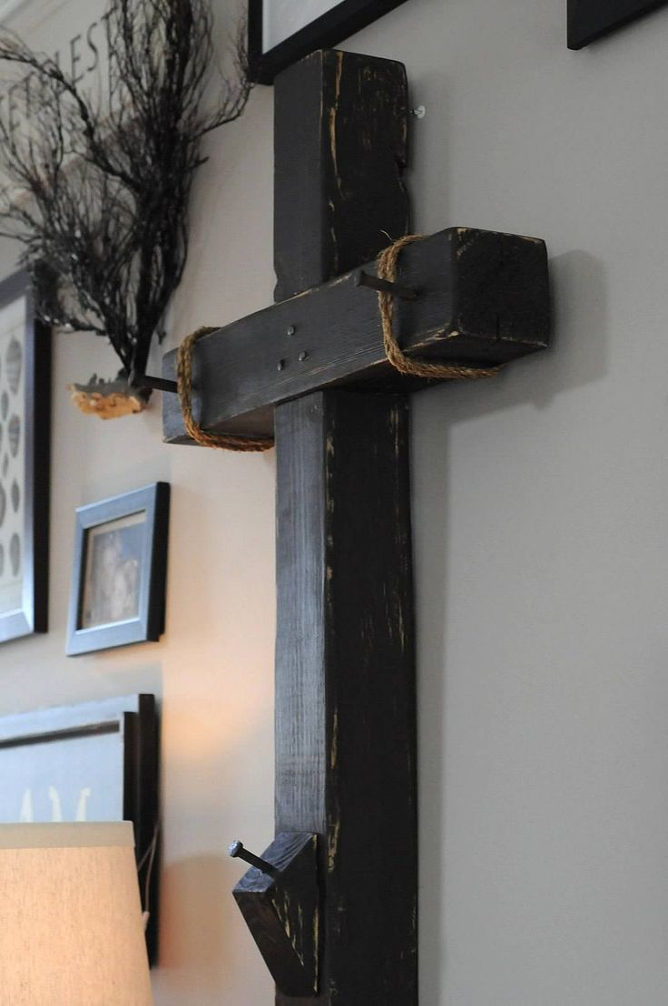 take wood cross and nail pieces of paper with prayer intentions to it throughout lent... Authentic Wood Cross with handmade nail/spikes. $175.00, via Etsy.