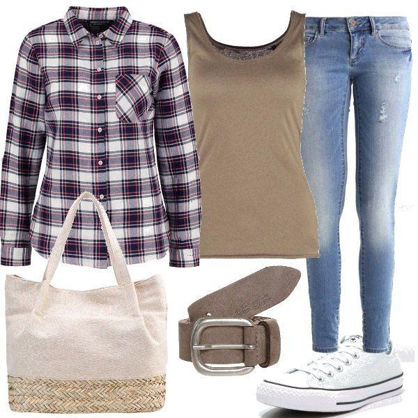 Per un pranzo in compagnia di amiche, propongo questo outfit composto da jeans a vita bassa, top in jersey, camicia in cotone, cintura, sneakers basse e shopping bag con chiusura magnetica.