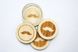 Moustache Coasters by Masters of None - eclectic - barware - by Etsy